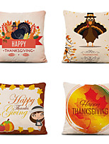 cheap -Set of 4 Farm Harvest Thanksgiving Theme Pillow Case Cushion Cover Lemon Summer Linen Home