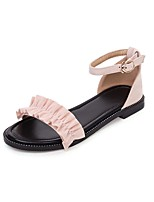 cheap -Girls' Mary Jane Suede Sandals Flat Sandals Big Kids(7years +) Buckle / Stitching Lace Black / Pink / Gray Summer