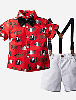 cheap -Kids Toddler Boys' Basic Print Cartoon Short Sleeve Clothing Set Red