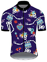 cheap -21Grams Men's Short Sleeve Cycling Jersey Nylon Polyester Blue / White Heart Skull Floral Botanical Bike Jersey Top Mountain Bike MTB Road Bike Cycling Breathable Quick Dry Ultraviolet Resistant