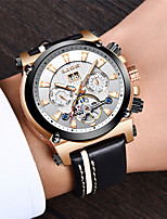 cheap -LIGE Men's Mechanical Watch Automatic self-winding Modern Style Stylish Leather Water Resistant / Waterproof Calendar / date / day Noctilucent Analog Casual Outdoor - Black+Gloden White+Golden Black