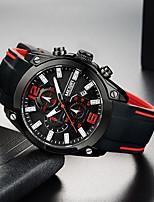 cheap -MEGIR Men's Sport Watch Quartz Modern Style Sporty Silicone Black 30 m Calendar / date / day Chronograph Noctilucent Analog Cool Big Face - Black Two Years Battery Life / Large Dial