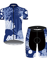 cheap -21Grams Women's Short Sleeve Cycling Jersey with Shorts Nylon Polyester Black / Blue Floral Botanical Bike Clothing Suit Breathable 3D Pad Quick Dry Ultraviolet Resistant Reflective Strips Sports