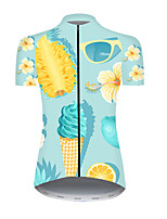 cheap -21Grams Women's Short Sleeve Cycling Jersey Nylon Polyester Blue+Yellow Fruit Pineapple Bike Jersey Top Mountain Bike MTB Road Bike Cycling Breathable Quick Dry Ultraviolet Resistant Sports Clothing