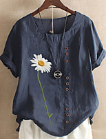 cheap -Women's T-shirt Graphic Round Neck Tops Loose Cotton Summer Blue Army Green
