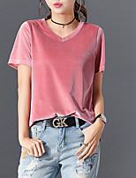 cheap -Women's T-shirt Solid Colored Tops V Neck Wine White Black / Short Sleeve