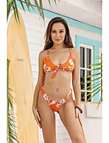cheap -Women's Triangle Cheeky Bikini Tankini Swimwear Swimsuit - Floral Print S M L Orange