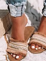 cheap -Women's Slippers & Flip-Flops Summer Flat Heel Open Toe Daily PU Almond / Red