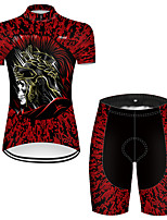 cheap -21Grams Women's Short Sleeve Cycling Jersey with Shorts Nylon Polyester Black / Red 3D Novelty Skull Bike Clothing Suit Breathable 3D Pad Quick Dry Ultraviolet Resistant Reflective Strips Sports 3D