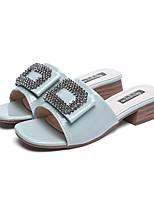 cheap -Women's Slippers & Flip-Flops Summer Block Heel Open Toe Casual Daily Outdoor PU Yellow / Green / Beige