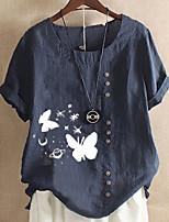 cheap -Women's T-shirt Graphic Tops Round Neck Daily Summer White Blue Blushing Pink S M L XL 2XL 3XL