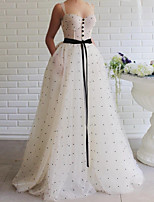 cheap -A-Line Elegant Vintage Engagement Formal Evening Dress Scoop Neck Sleeveless Floor Length Lace Satin with Sash / Ribbon 2020