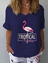 cheap -Women's T-shirt Animal Tops V Neck Daily Summer White Yellow Navy Blue S M L XL 2XL 3XL