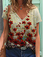 cheap -Women's T-shirt Floral Tops V Neck Daily Summer Rainbow S M L XL 2XL 3XL