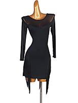 cheap -Latin Dance Dress Tassel Split Joint Women's Performance Long Sleeve Spandex