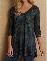 cheap -Women's T-shirt Floral Tops - Print V Neck Daily Wine Blue Purple S M L XL 2XL 3XL 4XL 5XL
