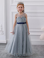 cheap -Princess / Ball Gown Round Floor Length Tulle Junior Bridesmaid Dress with Bow(s)