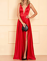 cheap -A-Line Hot Sexy Engagement Formal Evening Dress V Neck Sleeveless Floor Length Satin with Pleats Split 2020