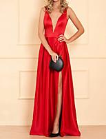 cheap -A-Line Hot Sexy Engagement Formal Evening Dress V Neck Sleeveless Floor Length Satin with Pleats Split 2020