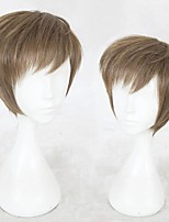 cheap -Cosplay Wig Bai Qi Game Love and producer Curly Cosplay Halloween With Bangs Wig Short Brown Synthetic Hair 12 inch Men's Anime Cosplay Comfortable Brown