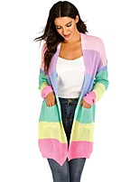 cheap -Women's Knitted Color Block Cardigan Long Sleeve Loose Oversized Sweater Cardigans V Neck Fall Winter Black Blue Purple