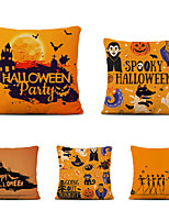 cheap -Set of 5 Throw Pillow Cases Sofa Cushion Covers Cartoon Halloween Linen Square Decorative