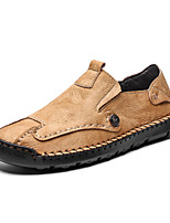 cheap -Men's Spring / Summer Business / Classic / Casual Daily Outdoor Sneakers Running Shoes Cowhide Handmade Shock Absorbing Wear Proof Black / Khaki / Brown