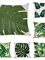 cheap -9 pcs Linen Pillow Cover, Tropical Plants Leaves Casual Modern Square Traditional Classic