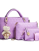 cheap -Women's Zipper PU Bag Set Bag Sets Solid Color Purple