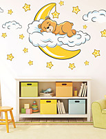 cheap -Little Bear Stars Wall Stickers Plane Wall Stickers Decorative Wall Stickers PVC Home Decoration Wall Decal Wall Window Decoration 1pc