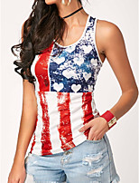 cheap -Women's Blouse National Flag Tops Round Neck Daily Summer White S M L XL