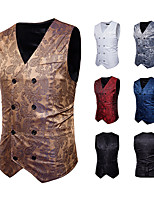 cheap -Plague Doctor Vintage Gothic Steampunk Masquerade Vest Waistcoat Men's Jacquard Costume Golden / White / Black Vintage Cosplay Event / Party Sleeveless