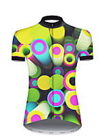 cheap -21Grams Women's Short Sleeve Cycling Jersey Nylon Polyester Green / Yellow Polka Dot 3D Gradient Bike Jersey Top Mountain Bike MTB Road Bike Cycling Breathable Quick Dry Ultraviolet Resistant Sports