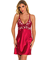 cheap -Women's Lace Backless Suits Nightwear Patchwork Wine / Black S M L