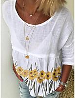 cheap -Women's T-shirt Floral Tops Round Neck Daily White Black Yellow S M L XL 2XL 3XL