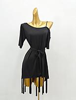 cheap -Latin Dance Dress Tassel Split Joint Women's Training Performance Short Sleeve Elastane Ice Silk