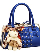 cheap -Women's Zipper PU Top Handle Bag Leather Bags Solid Color Black / Blue / Red
