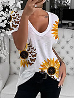 cheap -Women's T-shirt Graphic V Neck Tops Cotton Summer White