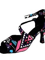 cheap -Women's Latin Shoes PU Heel Cuban Heel Dance Shoes Black