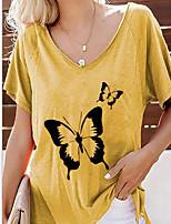 cheap -Women's T-shirt Animal V Neck Tops Summer Blue Yellow Green