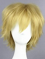 cheap -halloweencostumes Cosplay Costume Wig Cosplay Wig Kano Syuya Kagerou Project Curly Cosplay Halloween With Bangs Wig Short Blonde Synthetic HairMen's Anime Cosplay Cool Red Blonde
