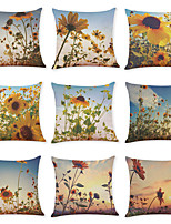 cheap -9 pcs Linen Pillow Cover, Sunflower Casual Modern Square Traditional Classic