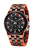 cheap -Men's Sport Watch Quartz Modern Style Stylish Wood Water Resistant / Waterproof Calendar / date / day Noctilucent Analog Cool Big Face - Black Red Brown