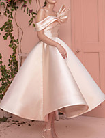 cheap -A-Line Elegant Minimalist Engagement Prom Dress Off Shoulder Short Sleeve Ankle Length Satin with Sleek 2020