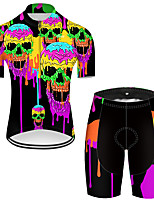 cheap -21Grams Men's Short Sleeve Cycling Jersey with Shorts Nylon Polyester Black / Yellow Gradient Novelty Skull Bike Clothing Suit Breathable 3D Pad Quick Dry Ultraviolet Resistant Reflective Strips