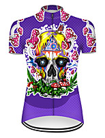 cheap -21Grams Women's Short Sleeve Cycling Jersey Nylon Polyester Violet Novelty Skull Floral Botanical Bike Jersey Top Mountain Bike MTB Road Bike Cycling Breathable Quick Dry Ultraviolet Resistant Sports