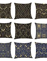 cheap -9 pcs Linen Pillow Cover, Geometric Classic Casual Modern Square