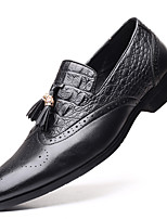 cheap -Men's Spring / Summer Casual / Vintage Daily Office & Career Loafers & Slip-Ons Faux Leather Breathable Non-slipping Wear Proof Black / Yellow / Brown / Square Toe