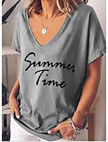 cheap -Women's T-shirt Letter Tops V Neck Daily Blue Blushing Pink Green S M L XL 2XL 3XL 4XL 5XL