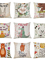 cheap -9 pcs Linen Pillow Cover, Cartoon Pastoral Animals Casual Modern Square Traditional Classic